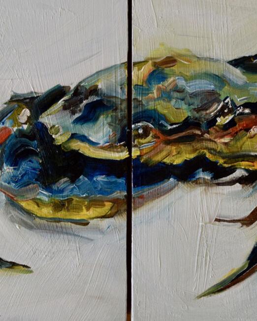 CD 21 x 30cm, oil on 2cm wood panel x two