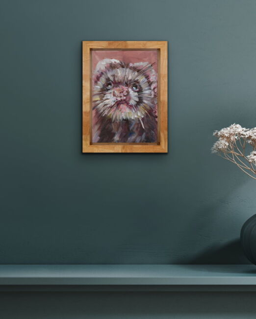 Ferret 15 x 21cm, oil on 2cm wood panel
